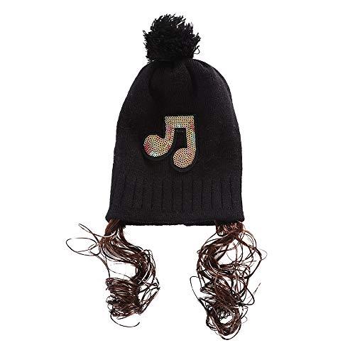 93125aab2fa Chapeau Enfant ADESHOP Mode Enfants Hiver Chaud Bonnet Tricoté Paillette  ÉTiquetage De Musique Perruque Bonnet Tricoté