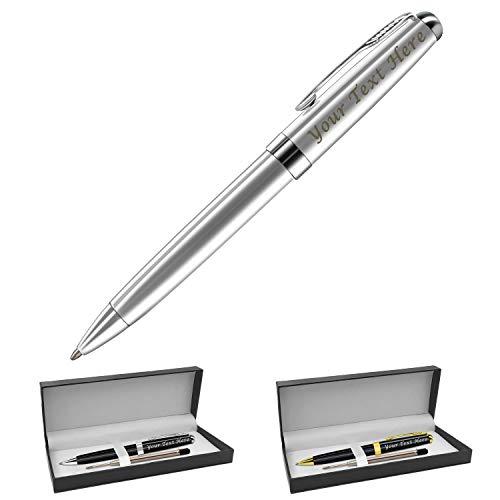 Penne Personalizzate con Nome- Penna Personalizzata Incisione - Penne A Sfera per Uomini Donna, Ricariche Sostitutive Gratuite -Confezione Regalo Nero,0.7 mm