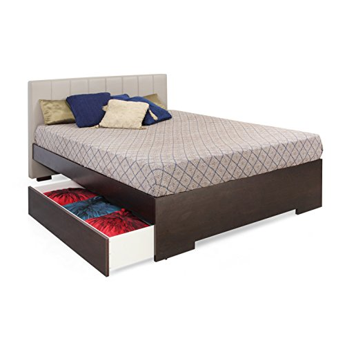 Forzza Troy Upholstered King Size Bed with 1 Storage Drawer (Mushroom)
