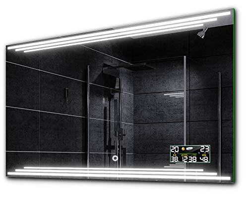 Alasta BIRMA Spiegel 80x60 mit LED Beleuchtung A++ - Wählen Sie Zubehör - Auswahl von Schalter/LED Uhr/Heizmatte Nach Maß | Beleuchtet Wandspiegel Lichtspiegel - LED Farbe Kaltweiß/Warmweiß
