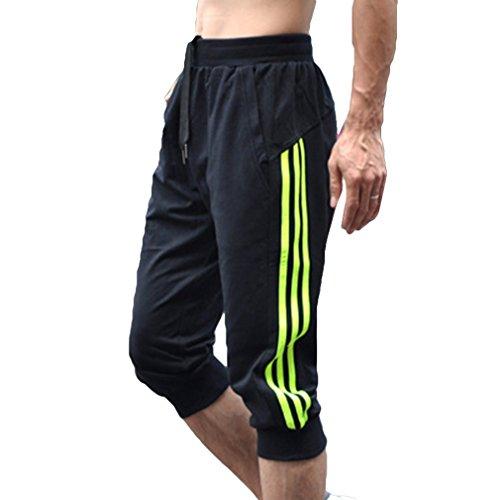 juqilu Sommer Herren Sport Sweat Hosen Shorts 3/4 Jogging Gym weiche Baumwolle Casual Hosen Schwarz XL