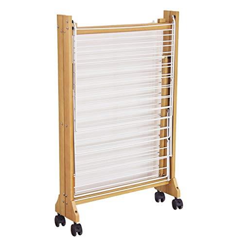 Kleiderständer, Wäscheständer Falten Kleiderbügel Mit Riemenscheibe Regal Massivholz Tingting-kleiderhaken (Color : Wood, Size : 180 * 60 * 105cm)