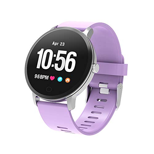 BingoFit Epic Smartwatch, Smart Watches Fitness Tracker Watch Activity Tracker with Heart Rate Monitor Pedometer Step Calorie Counter Stopwatch SMS Call Notification Waterproof IP67 for Men Women Plum