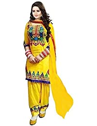 Florence Women's Cotton Semi-Stitched Patiala Suit (SL017 _Yellow_ Free Size)