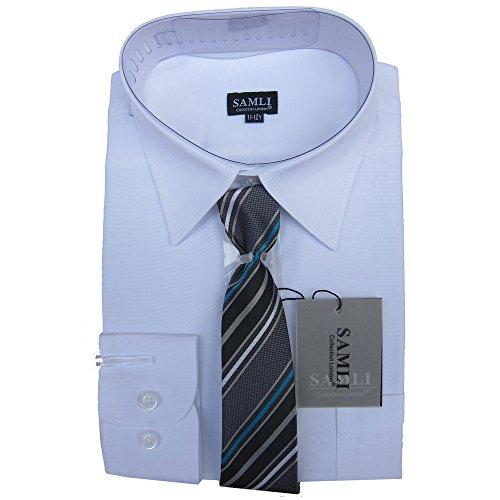Camicia e cravatta set bambini formale/camicia brillante a maniche lunghe by device ideale per età di matrimoni 6m-15 anni - bianco, 14-15 anni