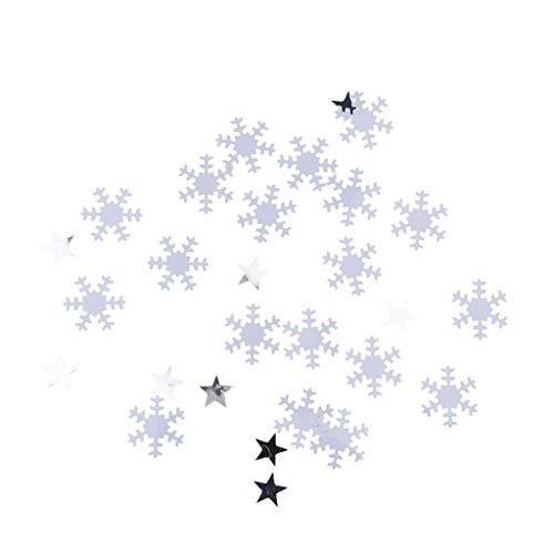 eburtstag Weihnachten Hochzeit Party Mettalic Confetti Tischdeko Konfetti - Weiß Schneeflocke (Weihnachten Schneeflocke)