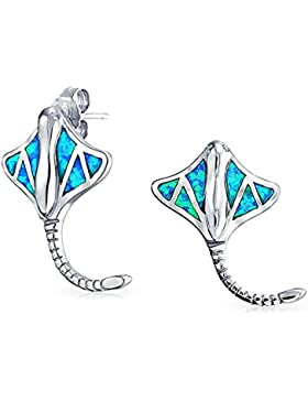 925 Silver Synthetic Blue Opal Inlay Stingray Fish Stud Earrings