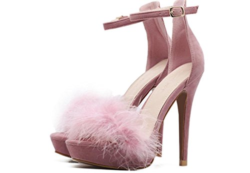 YCMDM FEMME Chaussures à talons hauts2017 nouveaux talons ultra hauts fines imperméables plume chaussures sandales sexy seule chaussure pink (usa)