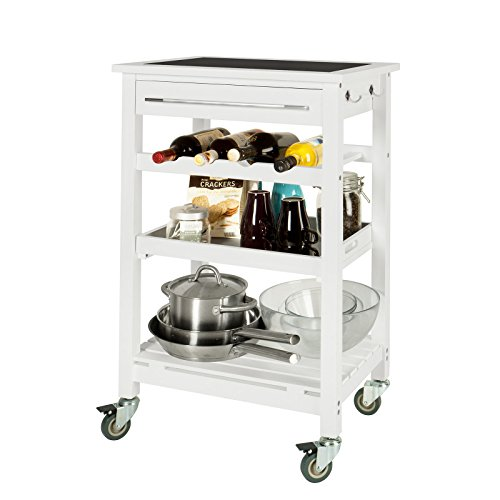 SoBuy® Servierwagen, Rollwagen, Küchenwagen mit Tischplatt aus Glas FKW16-G-W