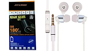 Jiyanshi Combo of Screen Guard / Screen Protector & Earphone With Deep Bass White Compatible For Sony Xperia ZR