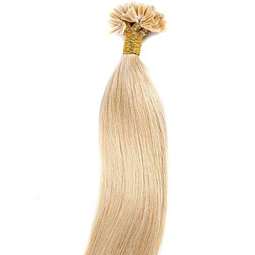 Extensions Echthaar Bondings 100% Remy Echthaar Keratin Bonding 100 Strähnen Haarverlängerung (50cm-50g,#24 Natürlich Blond)