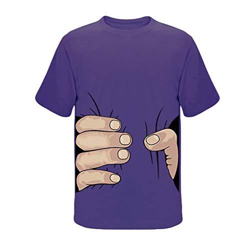 Tyoby Herren T-Shirt Drucken Großer Finger Fun Freizeit Kurzärmliges Oberteil Sommer Mode Tops Herrenbekleidung (Lila,XL)