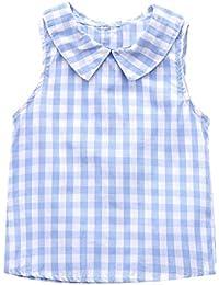 PinkLu Primavera Verano Niña Sin Manga O-Cuello Plaid Camiseta Arriba Moda Niñas Ropa