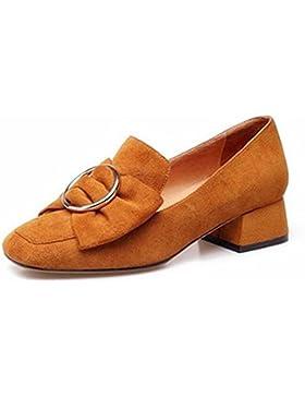 Beauqueen Bombas Lazy Shoes Suede Square-Toe Chunky Talón Trabajar Casual Vintage Zapatos UE Tamaño 34-39 , dark...