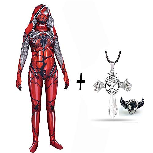 Rächer Red Spiderman Kostüm Frau Und Kind Spiderman Cosplay Halloween Karneval Party + Kreuz Halskette Und Spiderman Ring,Red-XXL