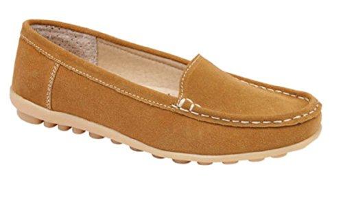 Koo-t donne mocassino scarpe in pelle scamosciata di guida confortevole estate deck ballerine taglia 345678, marrone (tan (crete)), 35.5