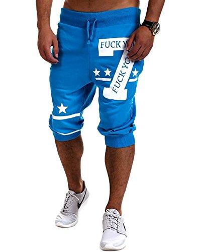 Uomo Estate Sport Outdoor Vacanza Shorts Lungo 3/4 Pantaloncini Da Surf Jogging Breve Blu