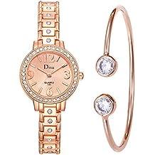 Javpoo Light Luxury Girl Temperamento Reloj de Pulsera con Cadena en Caja de Regalo Regalo de