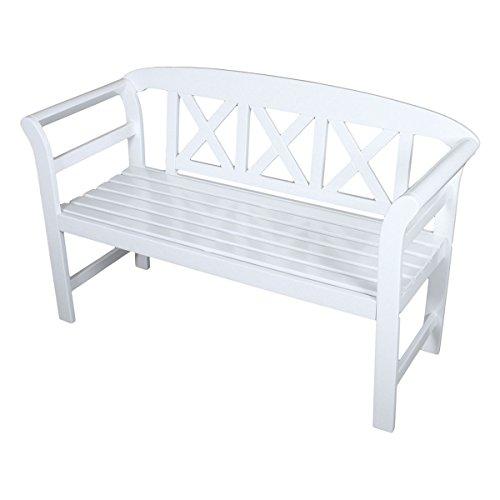 VARILANDO 2-Sitzer Gartenbank 'Vincent' aus weiß lackiertem Eukalyptus Holzbank Sitzbank Schweden-Look