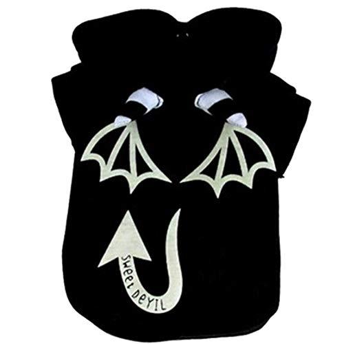 mama stadt Halloween Hundepullover Luminous Clothing Pet Devil Kostüm, Hundekostüm Kapuzenpullover - Devil Anzug Kostüm