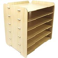 Ablageboxen, Likeluk Briefablage Ablagesystem für den Schreibtisch Dokumentenablage mit 6 variablen Einlegeböden Papierablage aus Holz für Briefe und Unterlagen preisvergleich bei kinderzimmerdekopreise.eu