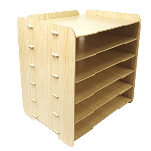 Mesa Organizador, Foxom 6 Capas Organizador de Escritorio Organizador de Suministros de Oficina Organizador de Mesa, 32 x 25 x 34cm, Color de madera