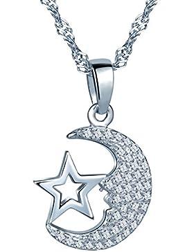Unendlich U Modisch Mond Stern Damen Mädchen Halskette 925 Sterling Silber Zirkonia Anhänger Kette mit Anhänger...