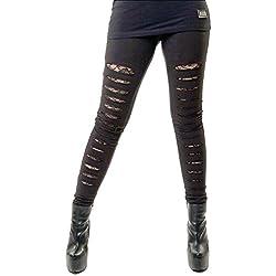 Leggings Largos Ajustados Elásticos Góticos de Vixxsin Punk Slasher Rotos Sexy - Negro (M - ES 40)