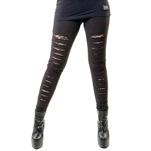 Leggings Largos Ajustados Elásticos Góticos de Vixxsin Punk Slasher Rotos Sexy - Negro (L - ES 42)