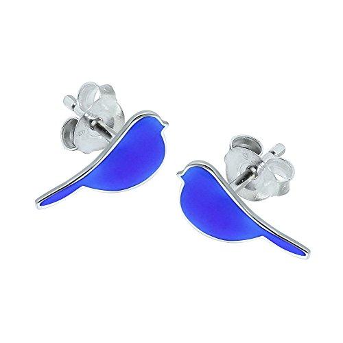 Kleine Vögel Ohrringe–Sterling Silber–Blau