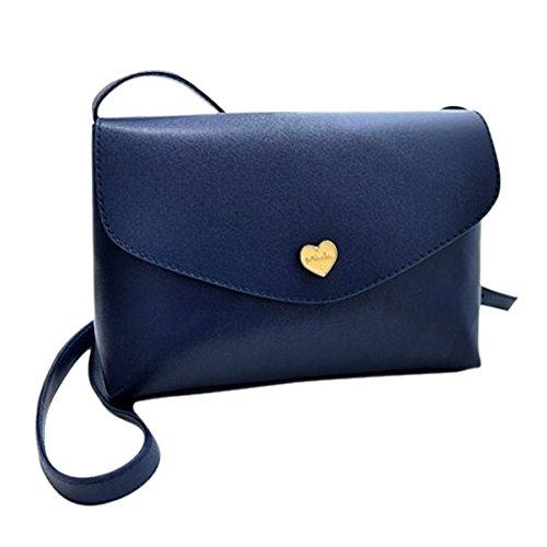 TOOGOO(R) Sacchetti di spalla del corpo trasversale delle borse di cuoio delle donne calde di vendita I sacchetti del messaggero di modo dei sacchetti delle piccole donne Rosa caldo Profondo blu