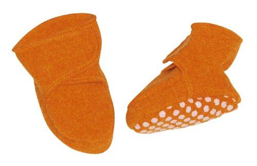 Disana Chaussons antidérapants en laine biologique bouillie orange