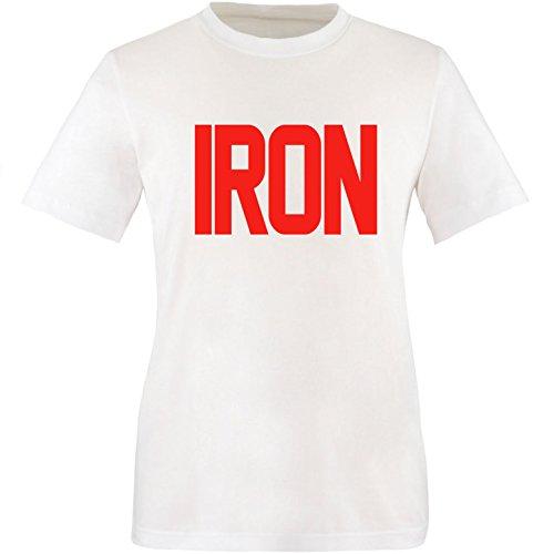 EZYshirt® Iron Herren Rundhals T-Shirt Weiß/Rot