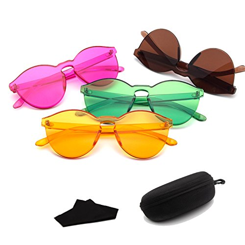 Junjiagao Damen Sonnenbrille Sole Rotondi Brillen Transparent Farbe Caramella grün