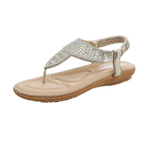 Ital-Design Zehentrenner Damen-Schuhe Flach Sandalen & Sandaletten Gold, Gr 38, 127-27-
