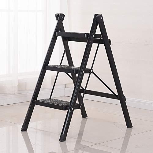 IG Ladder-Home-Klapphocker, Dreistufig Verdicktes Eisenpedal, Innenleiter, Dreistufenleiter, Rutschfeste Leiter,Schwarz,68Cm verwenden -