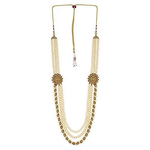 Sanjog Embellished LCT Colour Premium Long Pearl Jewelry Necklace Pearl Men Groom For Wedding Wear(Dule Ki Mala)