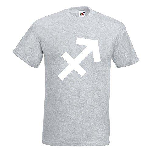 KIWISTAR - Schütze Sternzeichen T-Shirt in 15 verschiedenen Farben - Herren Funshirt bedruckt Design Sprüche Spruch Motive Oberteil Baumwolle Print Größe S M L XL XXL Graumeliert