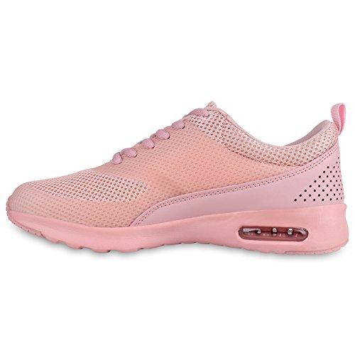 Damen Sportschuhe | Runners Sneakers | Laufschuhe Fitness | Trendfarben | Sportliche Schnürer Rosa Rosa