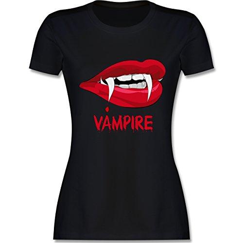 Halloween - Vampire Blut - XL - Schwarz - L191 - Damen T-Shirt Rundhals