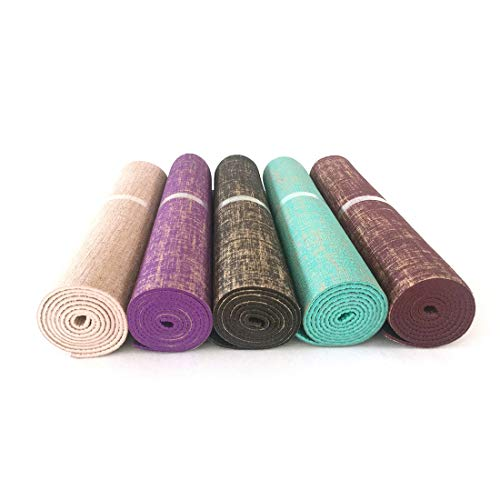 KERVINFENDRIYUN YY4 PVC Yoga Matte Umweltfreundliche rutschfeste Jute Yoga Matte Leinen Yoga Mat (Farbe : Braun) (Jute-matte Yoga)
