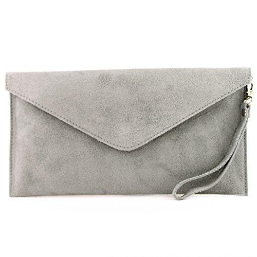 modamoda de - T106 - ital Clutch/Abendtasche aus Wildleder, Farbe:Grau