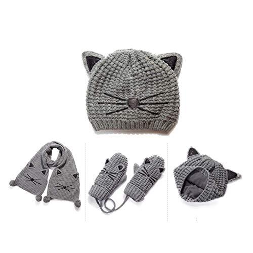 Rright! Frauen Winter 3PC Knit Cat Ears Beanie Fäustling Mütze, Schal & Handschuh-Sets,B (Beanie Knit Cat Ear)