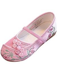 8dc2adaa413 Mocassins Fille Chaussures à Vent Brodées de Fleurs Nationales Ornés de  Noeud Chinois Chaussures Simples pour