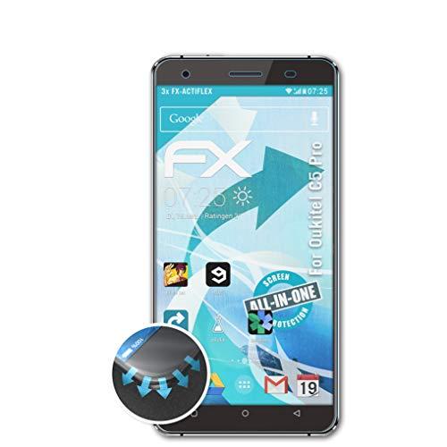 atFolix Schutzfolie passend für Oukitel C5 Pro Folie, ultraklare & Flexible FX Bildschirmschutzfolie (3X)