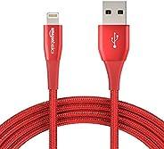 كابل يو اس بي ايه من امازون بيسكس مع موصل لايتنينج، مجموعة ممتازة حزمة 1, احمر