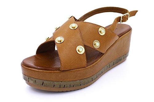 Inuovo 7322 Sandalo Con Zeppa Donna Coconut