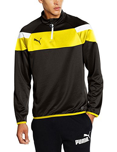 PUMA Herren Langarmshirt Spirit II 1/4 Zip Training Top black-Cyber yellow