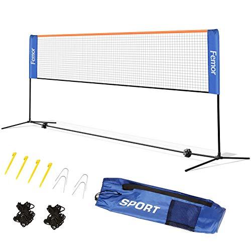 Femor Rete da Tennis,Badminton Portatile, 4M 2-in-1 Rete Tennis Pallavolo,Volano, Pieghevole, Altezza Regolabile con Supporto e Borsa (4 x 1.5 x 1M)