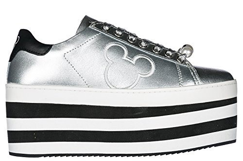 MOA Master of Arts Chaussures Baskets Sneakers Femme en Cuir Mickey Argent